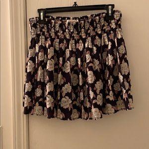 Floral Navy Pleated Mini Skirt